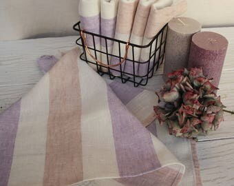 Linen towel Kitchen towel Dish towel Striped purple pink Country house towel Lavender lilac Tea towel Hand face Pure nature linen towel Gift