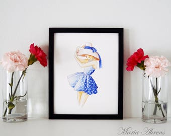 Vintage Beach Print, Fashion Illustration, Watercolor Print, Art Print, Vintage Swimwear, Home Decor, Office Decor, Gifts For Her, 8x10