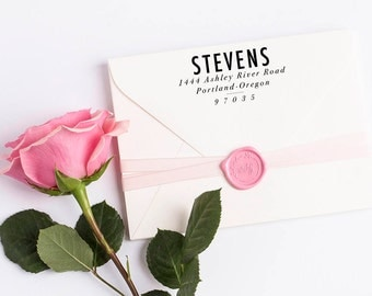Custom Return Address Stamp, Self Ink Return Address Stamp, Wedding Return Address, Calligraphy Address Stamp Return Address Stamp No 108