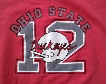 Vintage 80's Ohio State OSU Buckeyes #12 Red Crew-neck sweatshirt