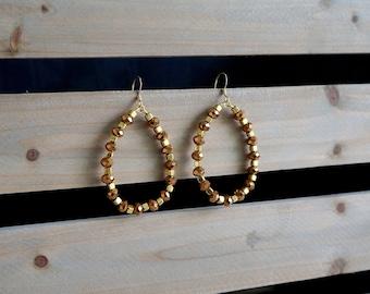 Bronze and Gold Beaded Hoop Earrings, Large Beaded Hoop Earrings, Teardrop Beaded Earrings, Brown and Gold Hoops, Large Beaded Hoops