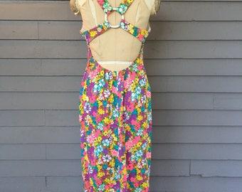 Criss Cross Back Flower Power Dress Size Small | Open Back | Bright Floral | Medium
