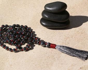 Hematite Mala Necklace,108 Prayer Beads,Meditation,Yoga,Hand Knotted,Tassel,Gemstone,Hematite,Protection,Balance,Awareness,Harmony,Grounding