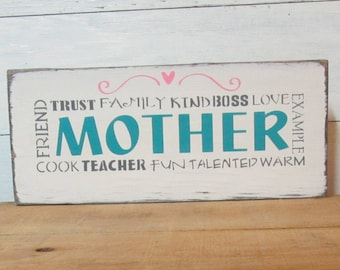 Mother Sign, Mother's Day Gift, Mother Plaque, Mother Meaning, Wood Sign