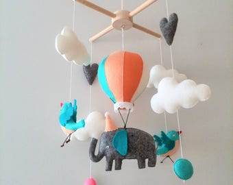 Baby Crib Mobile Elephant Baby Boy Mobile Hot Air Balloon Mobile, Grey Elephant Mobile, Mobile Fel Nursery, Birds and Clouds Mobile Elephant