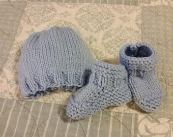 Knit Baby Hat and Booties