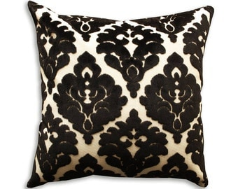 Velvet Pillow Cover Arabesque Black and White High End Pillow Elegant Pillow Velvet Throw Decorative Cushion Free Shipping Luxurious