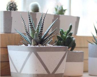 Geometric Square Concrete Planter / Pot for cacti and succulents - White, Black, Gold