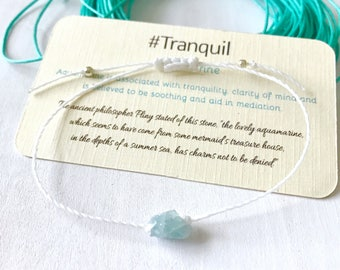 Raw Aquamarine Stone, March Birthstone Birthday Gift, Aquamarine Birthstone Bracelet, March Birthstone, Birthstone Jewelry for Women