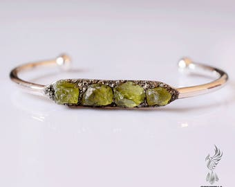 Raw Peridot Bracelets - August Birthstone Jewelry - Peridot Bracelets - Raw Peridot Jewelry - Statement Bracelet August Birthstone Bracelet