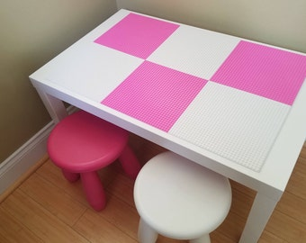Kids Lego Brick Building Table with Pink and White Baseplates and 2 Chairs. Girls  Lego