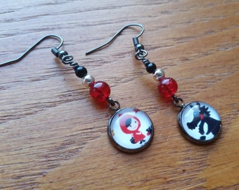 Little Red Riding Hood & The Big Bad Wolf Earrings.