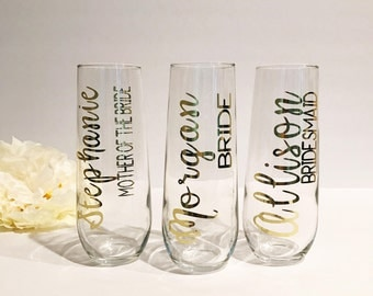 Personalized Stemless Champagne Flutes | Name + Title | Bridal Party Champagne | Maid of Honor Flutes | Bridesmaid Glasses