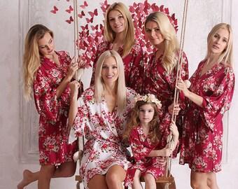 Burgundy Robe, Wine Color Robe, Raspberry Color Robe, Kimono Robe, Burgundy Bridesmaid, Burgundy Dress, Bridesmaid Robes, Bridesmaid Robe