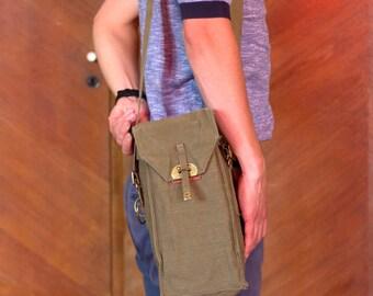 VINTAGE MESSENGER BAG, Canvas shoulder bag, military army crosbody bag,  Khaki Color Messenger Bag, 1980's, Gift