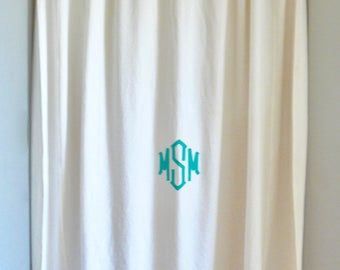 terry cloth shower curtain. Drop Cloth Shower Curtain  Monogrammable shower curtain Etsy