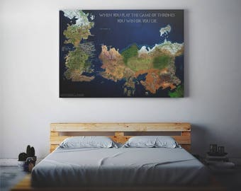 Game of Thrones map art gift Westeros poster Essos print got party seven kingdoms canvas decor fantasy house Stark song of ice and fire
