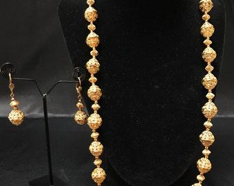 Indian Jewelry Set - Temple Jewelry - Beaded Ball Mala Set - Gold Mala - Pakistani Jewelry - South Asian Indian Jewelry - Bollywood -