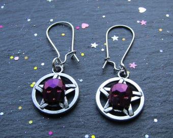 Pentacle Earrings with Purple Skulls, Pentacle Earrings, Wicca Jewellery, Wicca Earrings, Goth Earrings, Alternative Jewelry, Skull Earrings