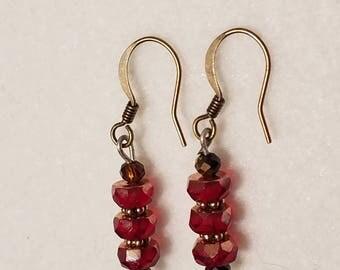 Red drop bead earrings