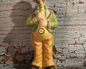 "Vintage cermaic Clown Playing the Sax Figurine 7 1/2"" tall, made in Taiwan"