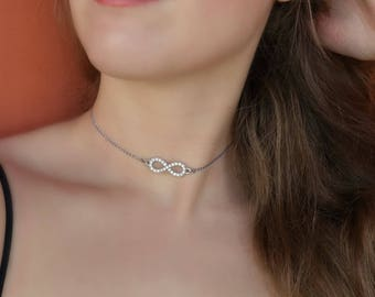 Dainty Silver Choker Infinity Choker Delicate Silver Choker Silver Rhinestone Choker Chains Necklace Gift For Girlfriend Infinity Charm