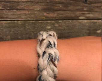 woven yarn bracelet, multicolored blue