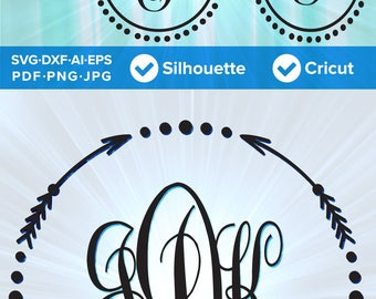 Monogram Frame Set 01 - Arrows and Circles - Arrow Circle SVG Cut File, DXF, Png, Eps, Pdf, Ai, Cricut, Silhouette Studio