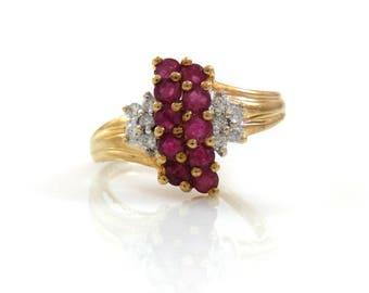 10K Waterfall Ruby & Diamond Ring - X4317