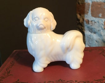 1970s Avon Royal Pekingese White Milk Glass Cologne Bottle - empty