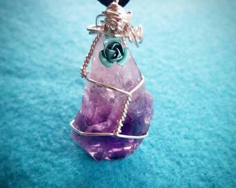 STUNNING Amethyst Stone Necklace with Turquoise Rose Charm FREE SHIPPING