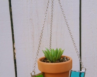 Stained Glass Terra Cotta Plant Hanger (surprise succulent included!!)