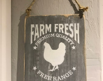 Fresh Eggs Sign Farm Fresh Eggs Sign Kitchen Sign Farmhouse Sign Rustic Decor Wall Art Eggs Sign Rustic Farm Sign Wood Sign Rustic Style
