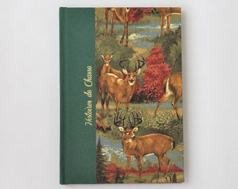 Book hunting stories with pattern deer, notebook, lined pages