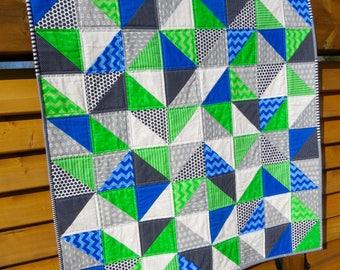 Modern Handmade baby boy quilt, baby quilt, crib quilt