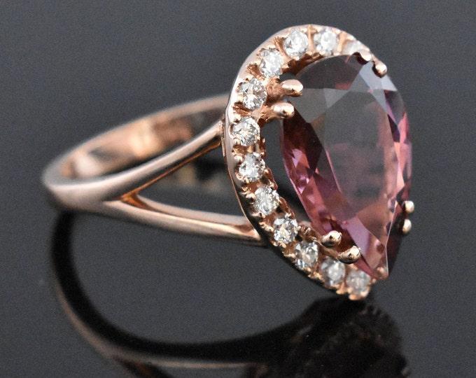 14K Rose Gold Pink Tourmaline and Diamond Ring | Engagement Ring | Wedding Ring | Anniversary Ring | Diamond Halo | Handmade Fine Jewelry