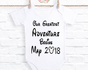 Baby reveal, baby announcement, baby announcement bodysuit, pregnancy announcement, Adventure begins bodysuit, pregnancy reveal