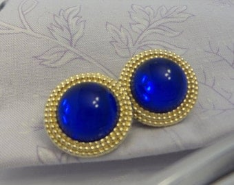 Blue and Gold Clip On Earrings