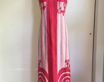 1960's - 1970's Ethnic Wrap Maxi Dress