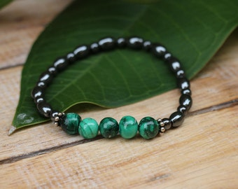 No. 35 Malachite, Hematite and Sterling Silver Bracelet