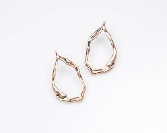 Nature inspired - Autumn earrings - Organic shape earrings - Unique jewelry - Gift for her - Boho jewelry - Fashion earrings - Gold earrings
