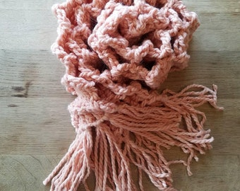Crochet handmade pink scarf with tassels. Made from alpaca and acrylic. Long soft thick and cozy
