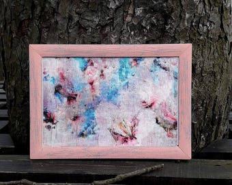 Japanese Sakura, flower art, decoupage paper wood, wabi sabi decor, Sakura painting print, 3d wall picture, raindrop rain art, birthday gift