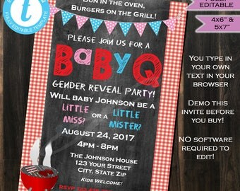 BabyQ Gender Reveal Invitation - Baby Shower Party- bbq- pink blue- Chalkboard- Printable - Personalized- DIY Custom INSTANT Self-EDITABLE