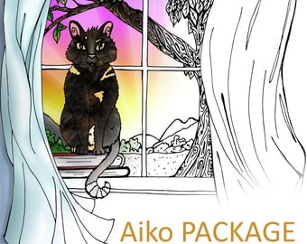 Celestrial's Pencil Aiko Package: Coloring Pages (PDF)