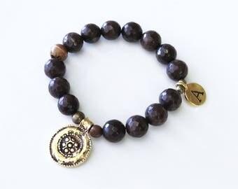 Rich Brown Jade Initial Bracelet