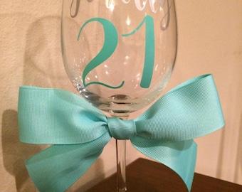 21st Birthday Wine Glass | | Finally 21 | 21st Birthday Gift For Women | 21st Birthday Gift