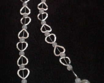 Silver Heart beaded necklace