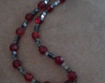 Red beaded necklace,black beaded necklce,cross pendant,black cross pendant,red stones on cross beaded necklace