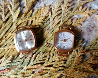Steampunk Vintage Watch Gold  AU  Zaria 17 Jewels  Not working  For Parts Or For Repairs For Steampunk Gold  plated ladies watch Set of two